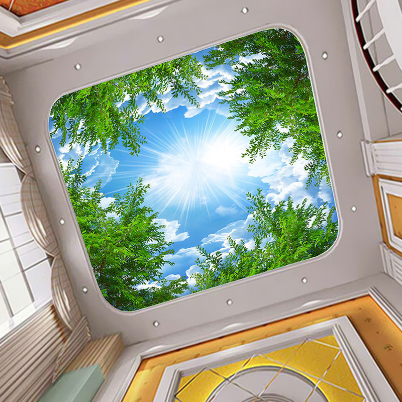 Custom 3D Photo Wallpaper Blue Sky White Clouds Forest Tree Branches Ceiling Zenith Background Decor Mural Wallpaper Living Room children room blue sky ceiling wallpaper white clouds wallpaper for kids bedroom blue sky and white clouds wallpaper paper roll