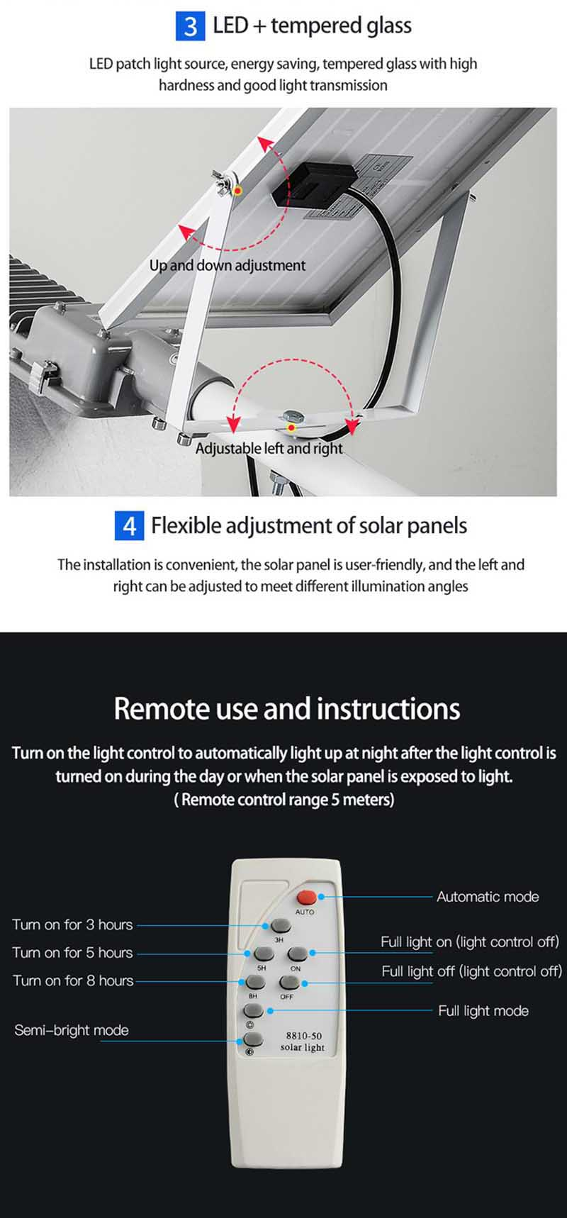 LED Solar Street Light Garden Solar Light Solar Street Lights Solar Energy Lamp Battery Powered Solar LED Light Outdoor (14)