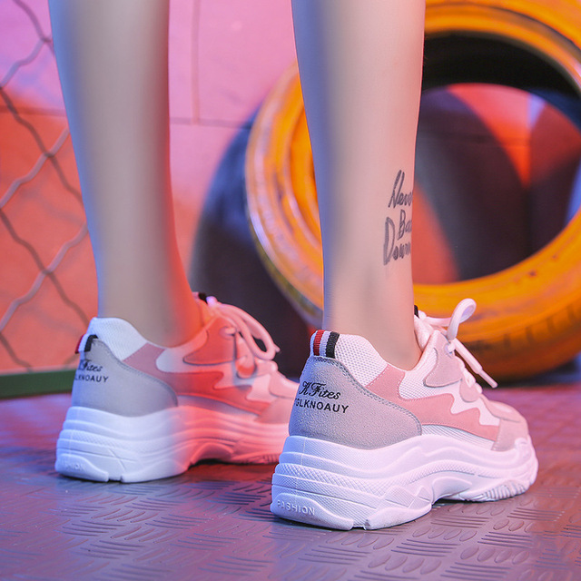 36d1c58fbee9 Women s Chunky Sneakers 2018 Fashion Basket Women Platform Shoes Lace Up  Pink Woman Trainers Korean Style