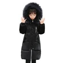 Christmas big girls white duck down jacket winter long jackets children outerwear coats fashion thick warm big collar overcoat