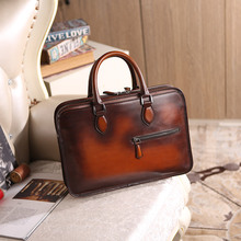 Luggage Bags - Briefcases - Newest Wholesale Price Men Business Briefcase Handmade Venezin Cow Leather Handbag Shoulder Bag Italian laptop bag Dropshipping