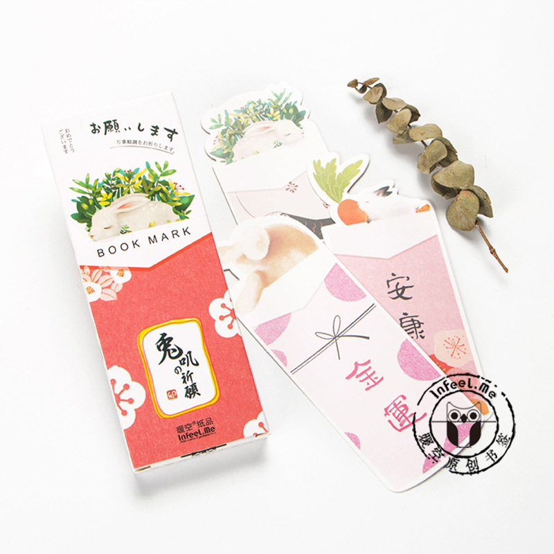 30 Pcs/pack Creative Rabbit Wishes  Bookmark Paper Bookmarkers Promotional Gift Stationery Film Bookmarks For Books