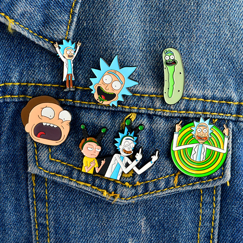 Rick And Morty Brooch Funny Cartoon Character Alloy Drop Oil Badge Pin for Denim Jacket Big Eyes Erect Middle Finger Q049