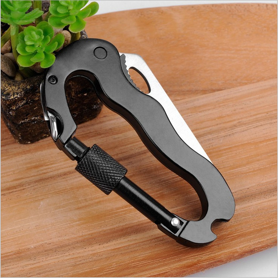 Outdoors More Function Fast Hang Security Mountaineering Buckle Fold Pocket Knife Key Screw Bottle Opener Self Defense image
