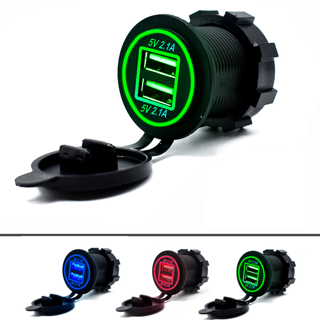 Universal Car Charger USB Vehicle DC12V-24V Waterproof Dual USB Charger 2 Ports Power Socket 5V 2.1A/2.1A with LED Display