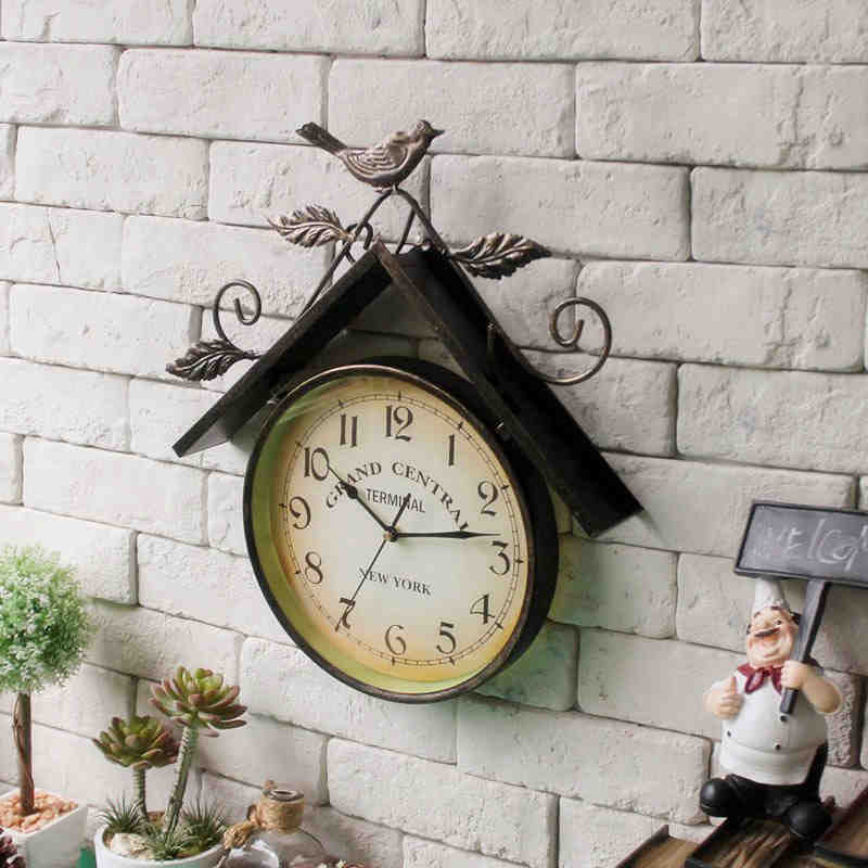AIBEI-American country Style retro Wrought Iron Birds House Model watches Wall Clocks metope Shop Home Decoration 41CM