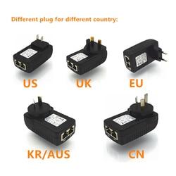 48 V 0.5A wyjście 10/100 Mbps wtryskiwacz POE władzę nad adapter sieci Ethernet  moc pin 4/5 (+)  7/8 (-) AC100-240V  wielkiej brytanii/ue/AU/US wtyczka