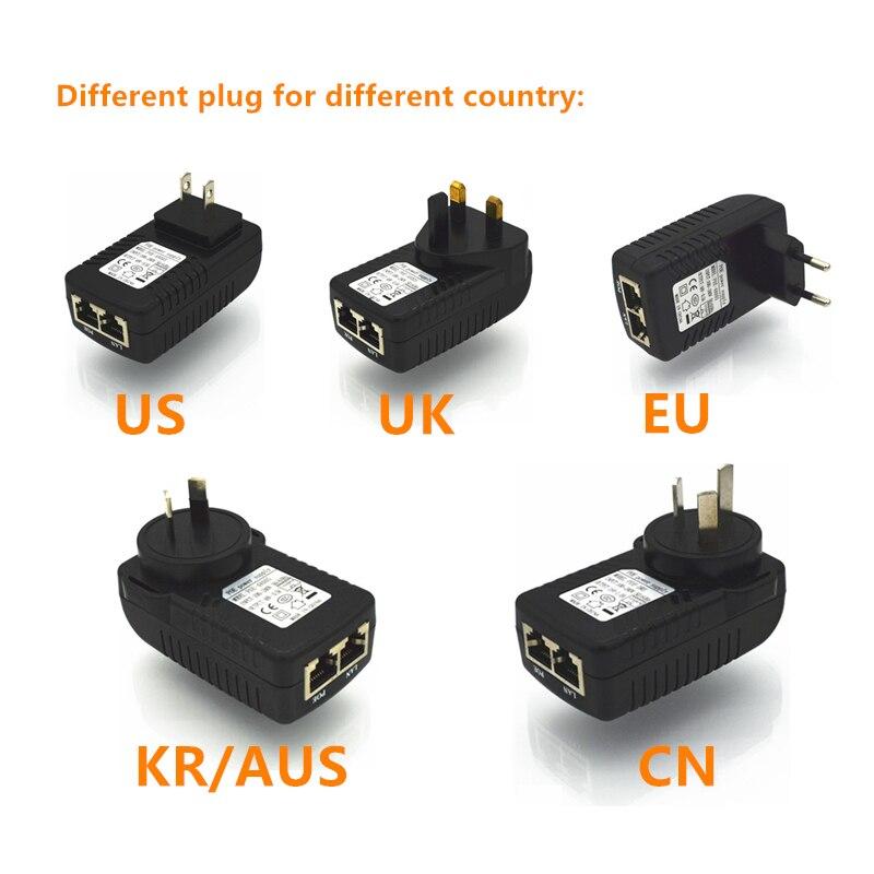 48V 0.5A Output 10/100Mbps PoE Injector Power Over Ethernet Adapter, Power pin 4/5(+),7/8(-) AC100-240V, UK/EU/AU/US Plug