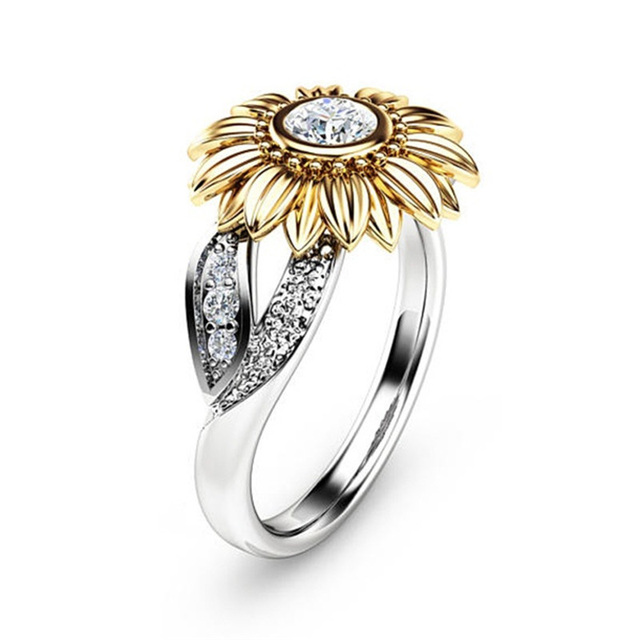 Cute Sunflower Charms Rings Silver Color CZ Crystal Engagement Rings for Women W