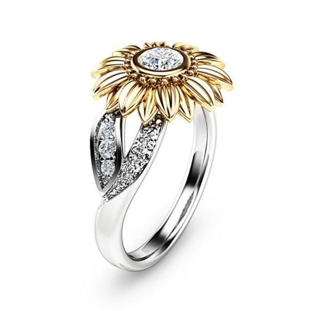 6b84bb318f30 Lindo girasol Amuletos Anillos plata color CZ cristal Anillos de compromiso  para las mujeres de la
