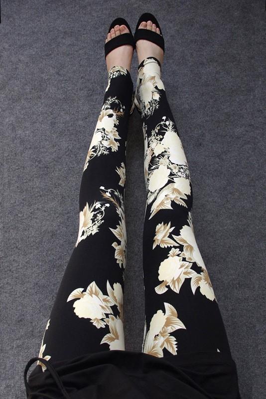 BIVIGAOS Spring Summer Womens Fashion Black Milk Thin Stretch leggings Colored Stars Graffiti Slim Skinny Leggings Pants Female 9