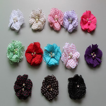 New 2015 Baby Hair Product DIY 2 Mini dot Chiffon Flowers With Pearl Rhinestone Children Accessories 30PCS/LOT Free Shipping
