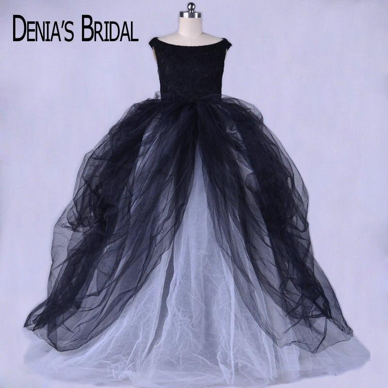 2017 noir et gris robe de soirée robe de bal avec encolure dégagée Appliques longueur de plancher Court Train fête robes de bal