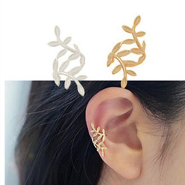 1 piece Leaves ear clip temperament fashion cute earrings ED107