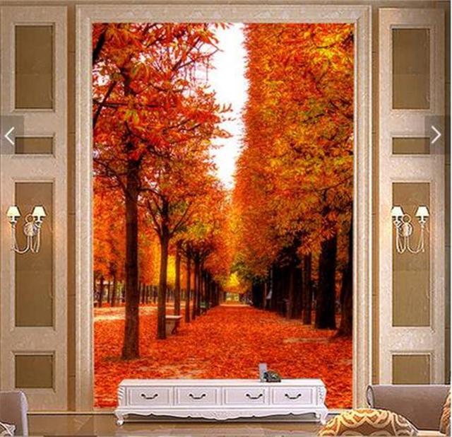 3d room photo wallpaper mural custom Non Woven porch Autumn forest