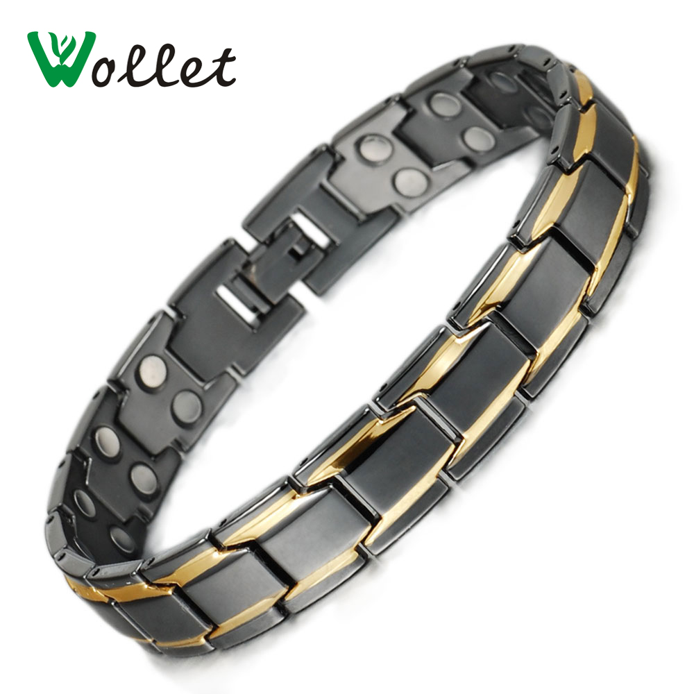 Wollet Jewelry 22cm Gold Black Color Healing Energy Double Row Magnetic Alloy Bracelet f ...