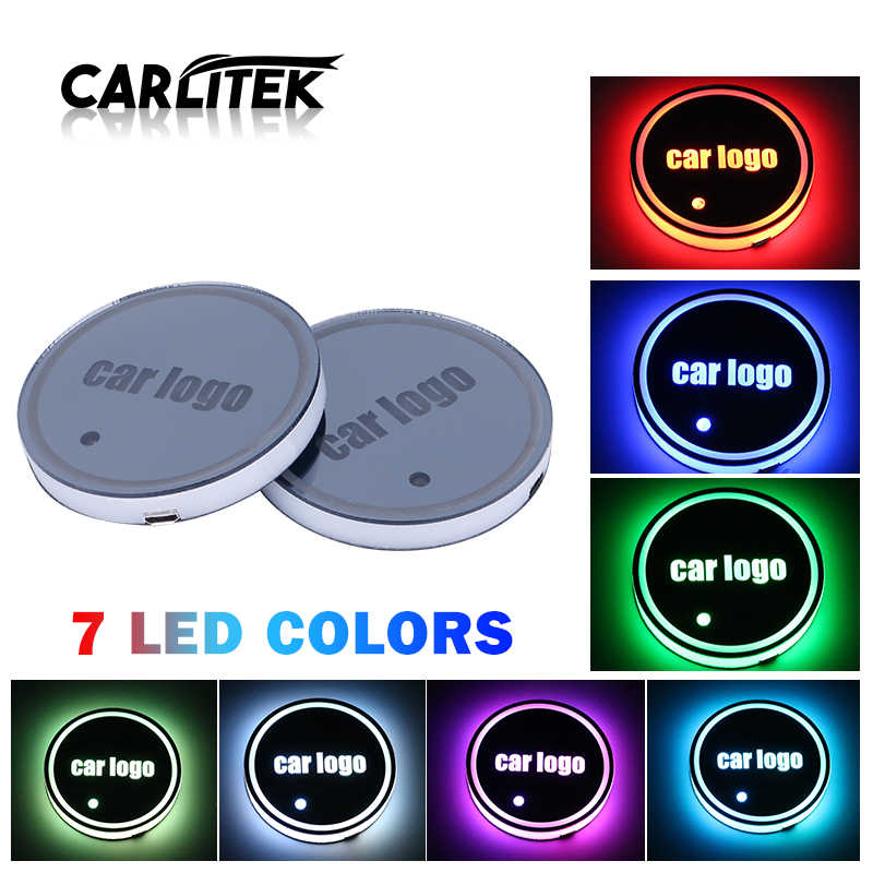 LED Car Logo Cup Holder Pads 7 Colors Changing USB Charging Mats Bottle Coasters Car Atmosphere Lamps for Lexus Cars