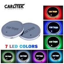 CARLitek รถ LED CUP ผู้ถือ Pads Light เสื่อขวด Coasters 7 สีโลโก้รถ LED Light Auto ภายในอะไหล่