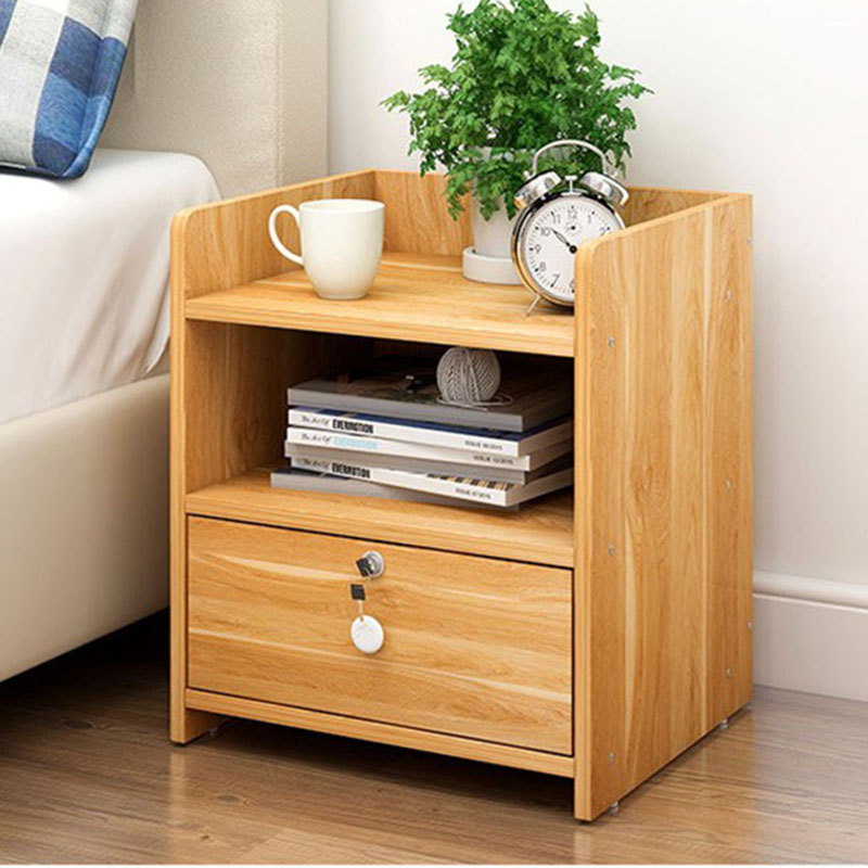 Simple modern bedside table bedroom storage cabinet wooden - Bedroom storage cabinets with drawers ...