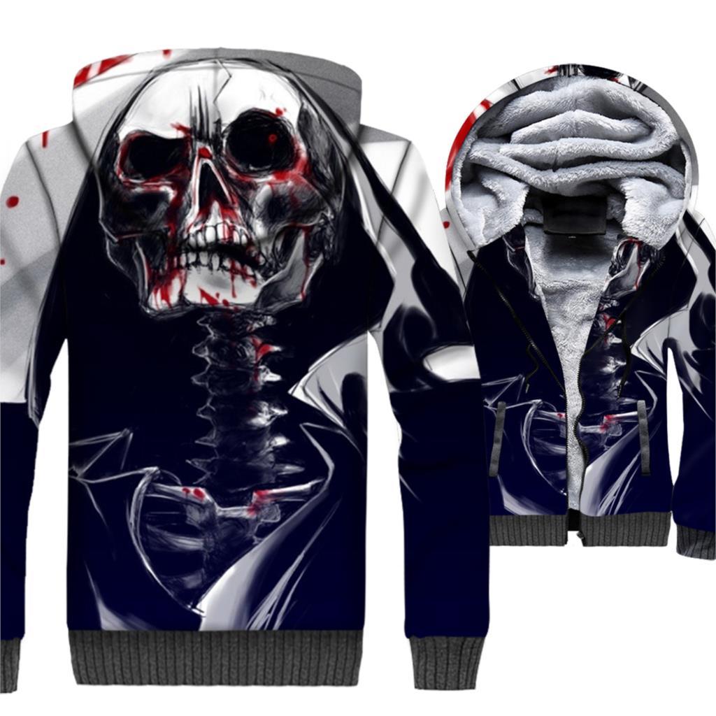 SKULL Printed Sweatshirt For Men 2019 Spring Winter Thick Zip Jackets 3D Hoodie Streetwear Men's Sweashirts Harajuku Hoodies