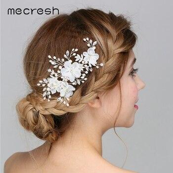 Mecresh Neueste Simulierte Perle Hochzeit Haar Zubehor Mit Tuch