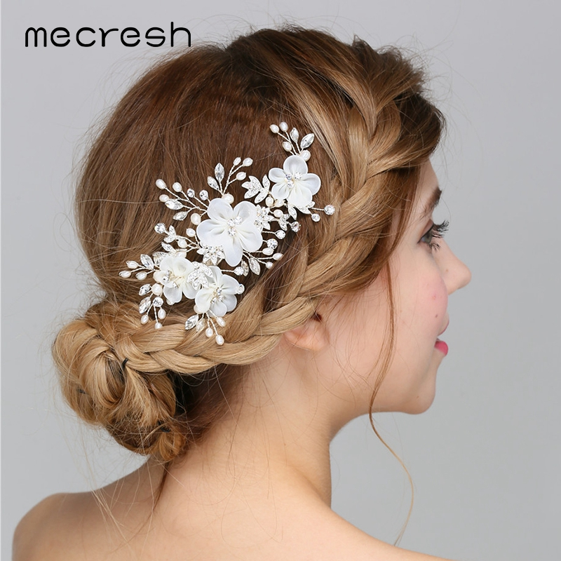 Mecresh Newest Simulated Pearl Wedding Hair Accessories with Cloth Flowers Crystal Bridal Hair Barrettes Hairwear Jewelry MFS163