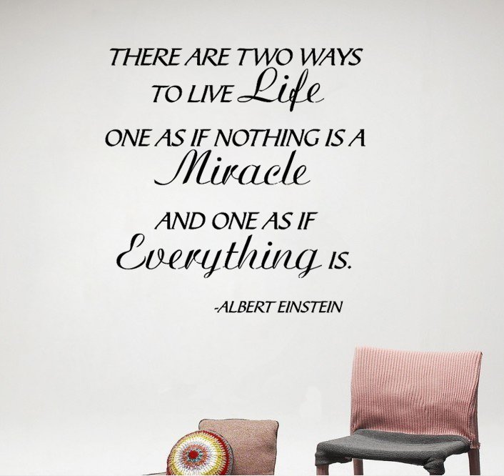 Life Miracles Everything Happen Albert Einstein Wall Sticker Art