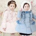 Бесплатная доставка Зима девушки ватные куртки хлопка шерсть шляпа двубортный кружева