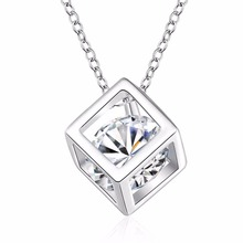 2017 Fashion Silver Colorful Crystal Pendant Necklaces For Women Square Cube Suspension Pendants Necklace Bride Wedding gift
