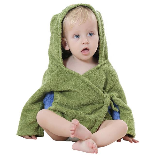 Los niños del Traje de Baño Lindo Bebé de la Historieta Albornoz Toalla Cómodo Baño Succión Sudor Ropa de Hogar Para 0-12 Meses
