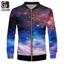 OGKB Men's Casual Jackets New Fashion Prin Galaxy Space 3d J