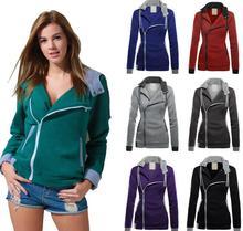 Hot spring and autumn ladies's long-sleeved Plus velvet thickening indirect zipper Slim coat ladies Hoodies Sweatshirts