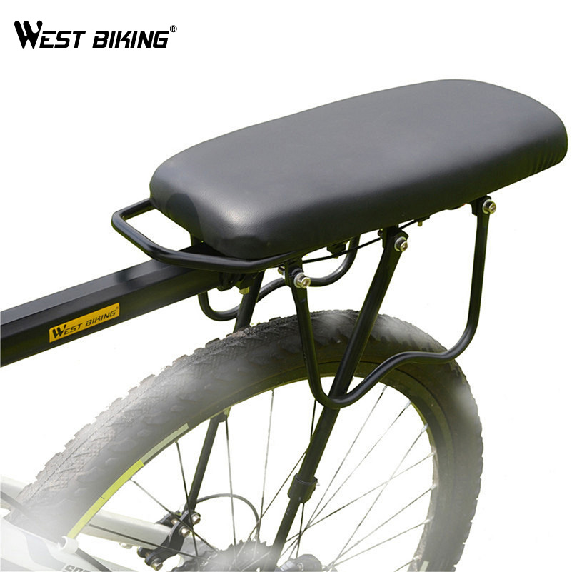 WEST BIKING Bicycle Black Luggage Mat Cycling Load Road Bike MTB Outdoor Bicicleta Cycle Cargo Rear Rack+Back Saddle Set Riding west biking bike chain wheel 39 53t bicycle crank 170 175mm fit speed 9 mtb road bike cycling bicycle crank