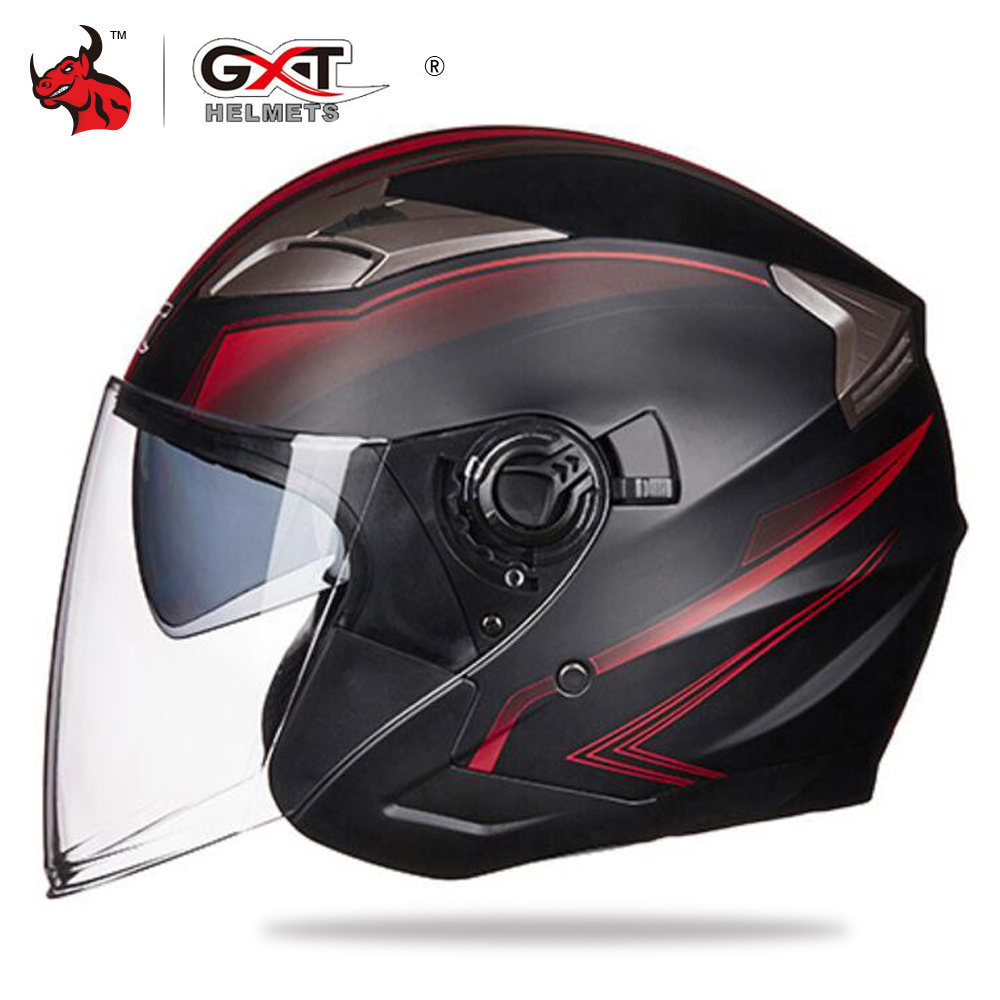 GXT Motorcycle Helmet Half Face ABS Moto Helmet Electric Safety Double Lens Helmet Moto Casque For