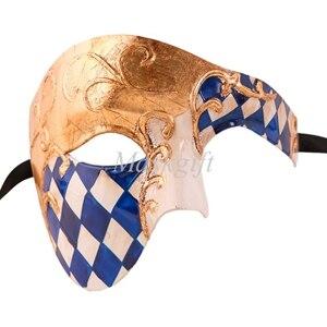 Лидер продаж черные туфли высокого качества красные, синие фиолетового и зеленого цветов, цвета: золотистый, серебристый Венецианская маска Halloween Пластик маскарадные маски - Цвет: blue gold checked