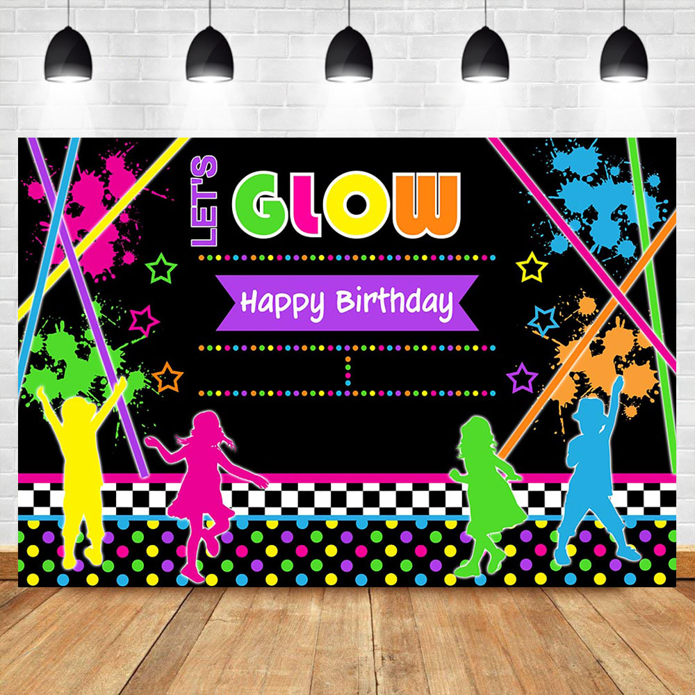 NeoBack Lets Glow Happy Birthday Photography Backdrops Graffiti Splash Childrens Party Banner Backdro