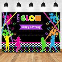 NeoBack Lets Glow Happy Birthday Photography Backdrops Graffiti Splash Childrens Party Banner Backdro