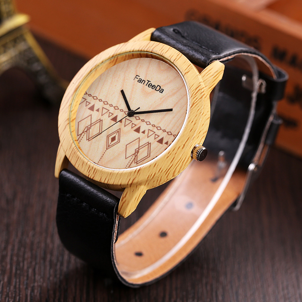Fashion Watch Band Wooden-Design Luxury Quartz Analog Round Wd3sea2 Erkek Izle Reloj