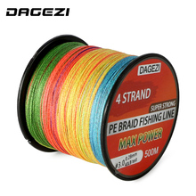 DAGEZI 10-80LB mix color 100% PE Braided Fishing Line With Gift 4 strand 500m Super Strong Multifilament fishing lines
