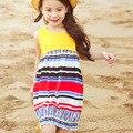 holiday girls dresses summer 2017 9 10 11 12 13 14 years rainbow striped long girls dresses beach sundress princess girl clothes
