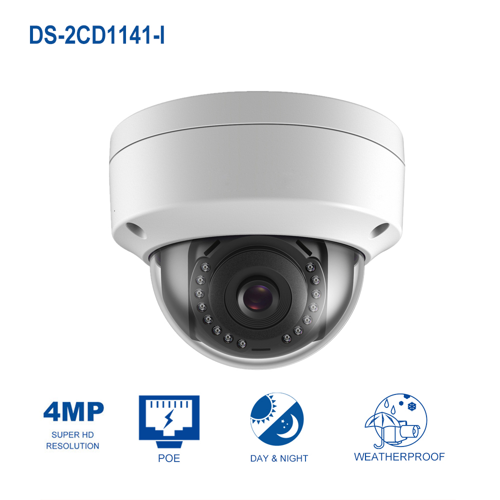 4 Megapixels POE IP Camera HIK Original DS-2CD1141-I OEM Indoor/Ooutdoor Fixed Day/Night Vision Security Camera ONVIF аппарат для ухода за кожей bradex ажур