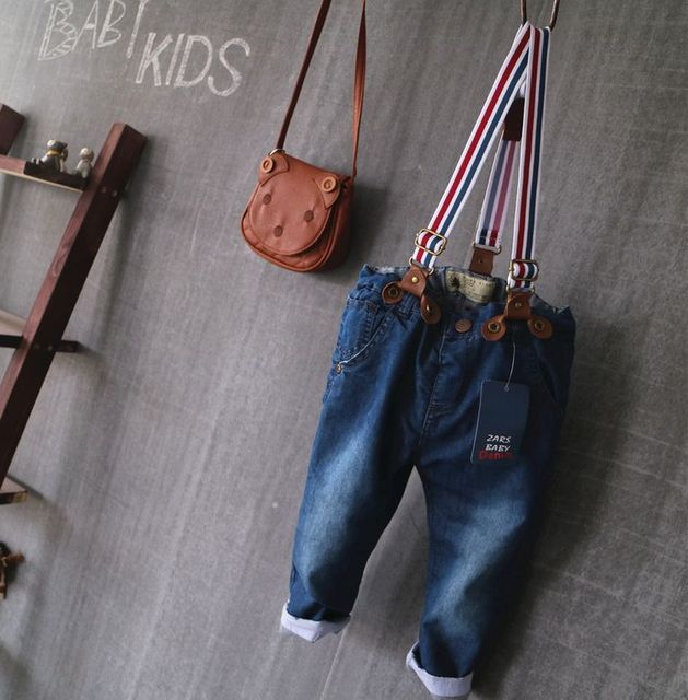 New Arrival Baby Boys Denim Overalls Jeans Boys Double-fabric Jeans Kids Strap Denim Jeans  Child Loose Cotton Pants