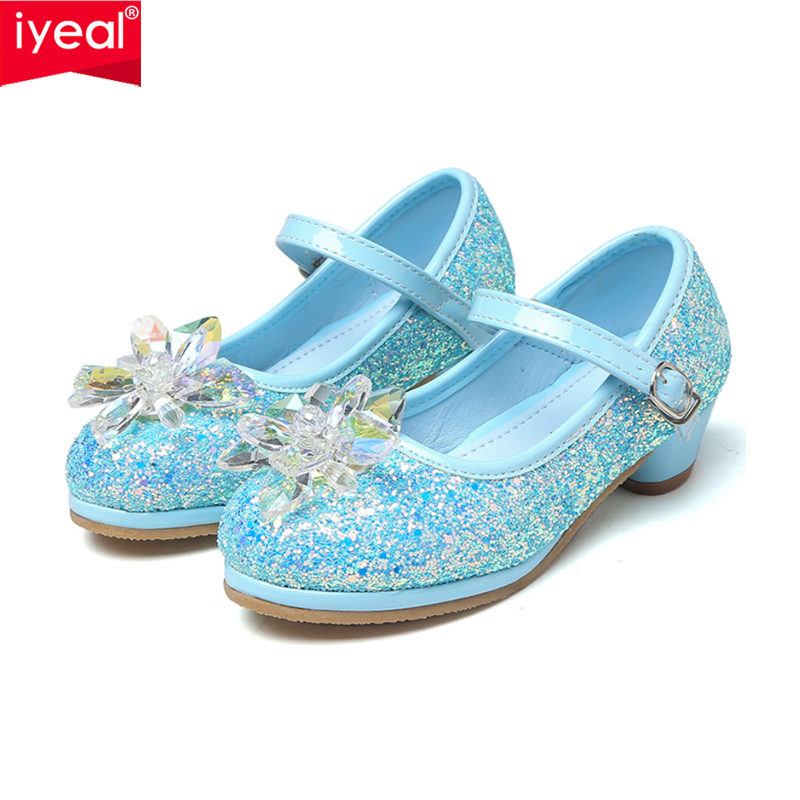 IYEAL Children Party Leather Shoes Girls Glitter Low Heel Flower Kids Shoes For Girls Single Shoes Dance Dress Gold Shoes kids glitter sandals elegant princess dance wedding dance party leather shoes heel student
