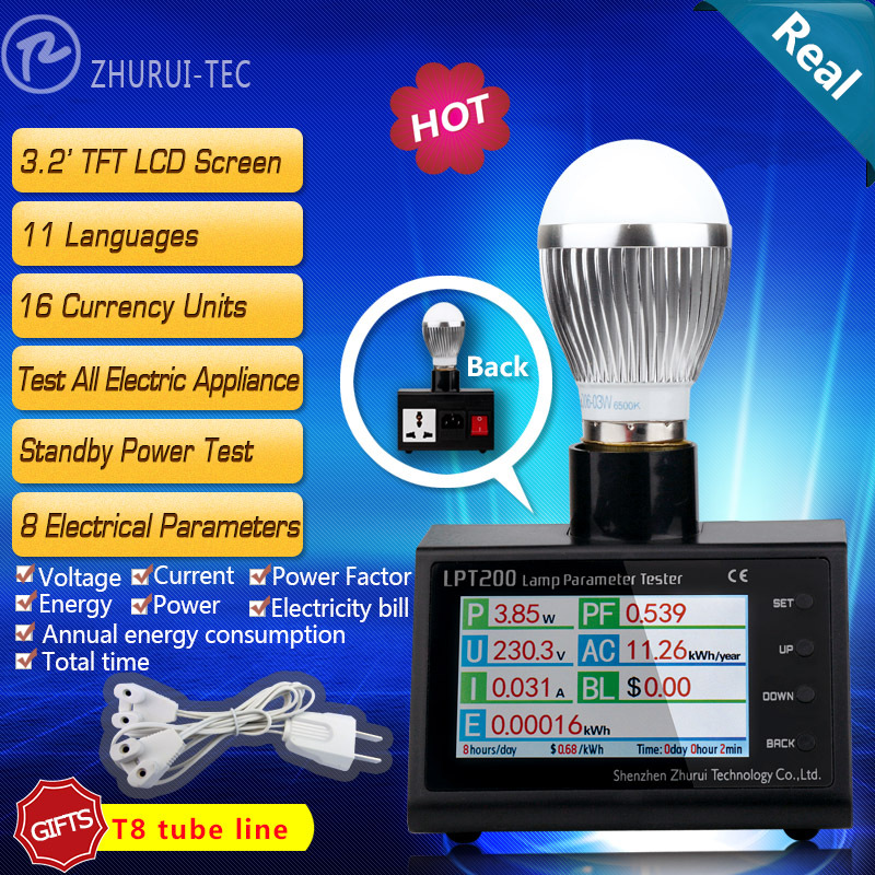 LPT200 AC misuratore di potenza watt spina, energy monitor digitale misuratore di energia elettrica, analizzatore di potenza metro kwh 11 lingue 16 valute