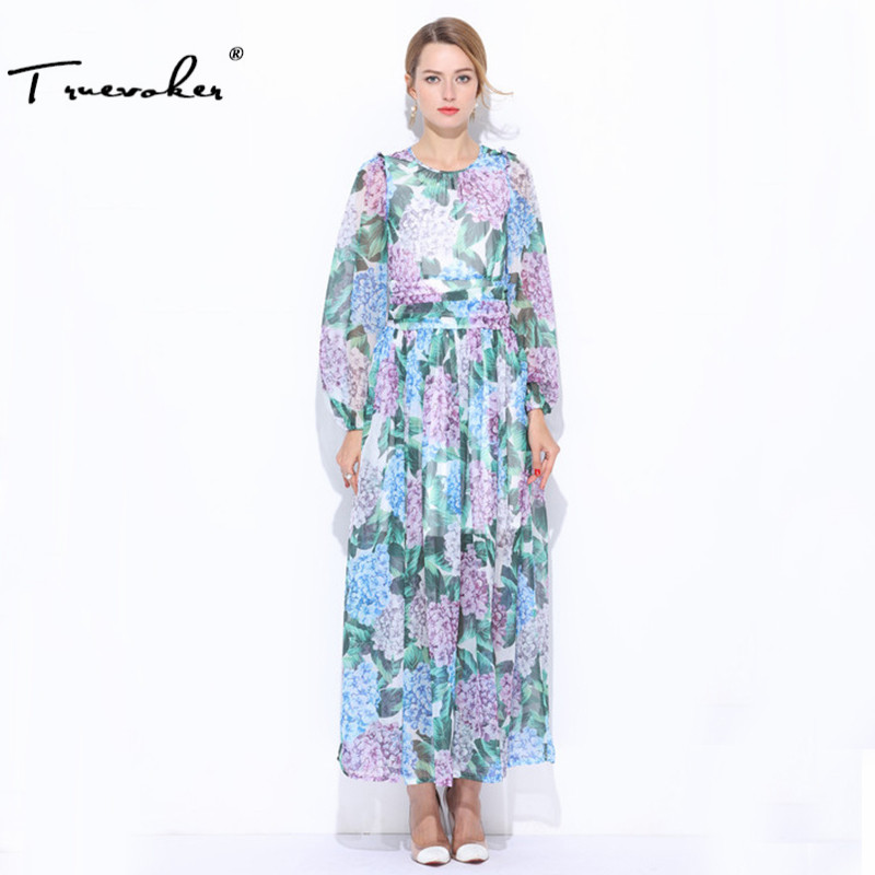 Truevoker Autumn New In Designer Maxi Dress Womens High Quality Noble Puff Sleeve Green Floral Printed Silk Long Dress