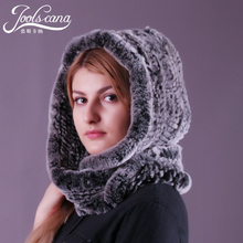 JOOLSCANA real fur hat scarf for wowen autumn winter warm scarf cap female knitted Rex Rabbit scarf and cap two in one Russian
