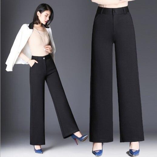 7xl 9xl Plus Size Work Wear Trousers For Women Korean Dress Bell Bottom   Pants   High Waist   Wide     Leg     Pants   Ladies Slacks Black