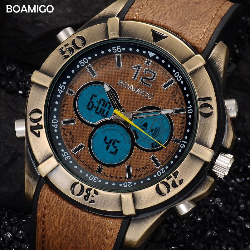 ФОТО men dual display sport watches antique analog digital LED quartz watch 207 BOAMIGO brand gift clockRetro vintage punk watches