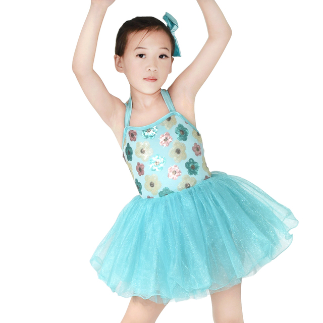 ada2e8e2af24 Sequin Leotard Flower Ballet Dance Dress Kids Dance Wear Girls Party ...