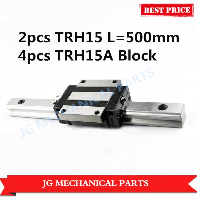 2pcs linear guide rail 15mm width TRH15 L=500mm+4pcs slide block TRH15A Flange slide block for CNC parts linear guide for 3d printer 1pc trh15 l200mm linear rail 2pcs trh15a flange block